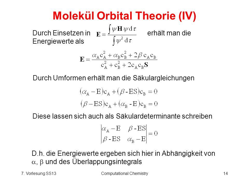 Molekül Orbital Theorie (IV)
