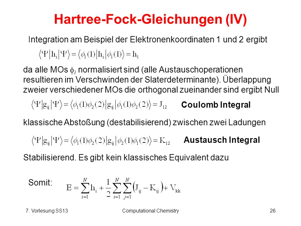 Hartree-Fock-Gleichungen (IV)