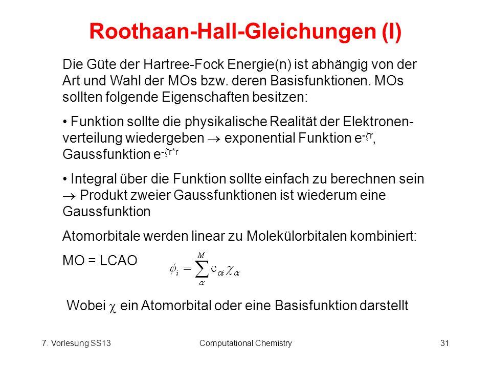 Roothaan-Hall-Gleichungen (I)