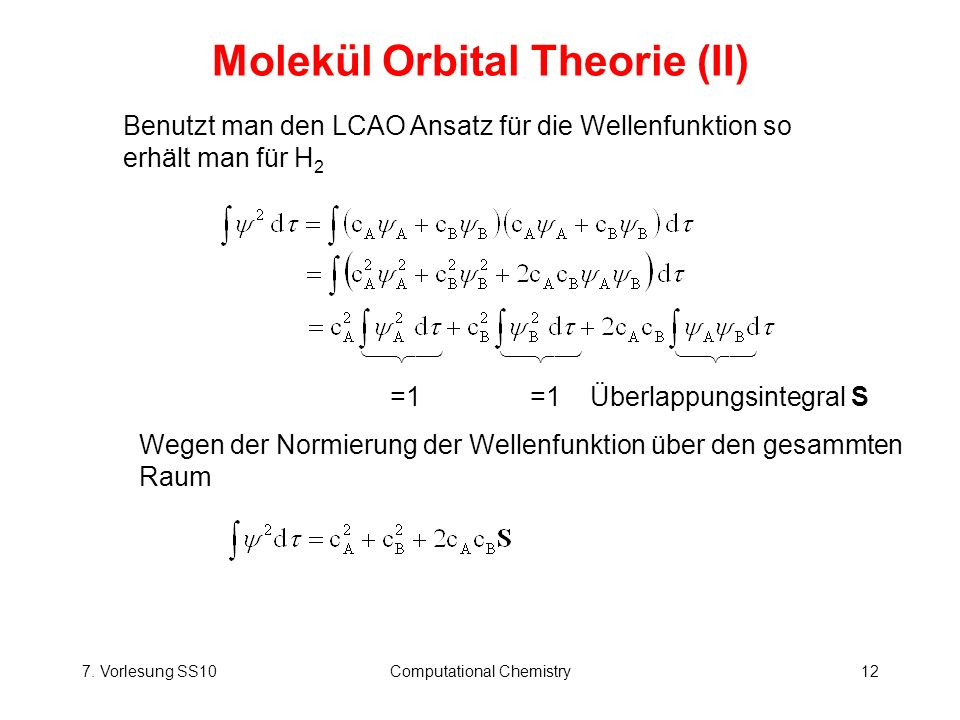 Molekül Orbital Theorie (II)