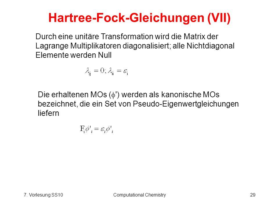 Hartree-Fock-Gleichungen (VII)