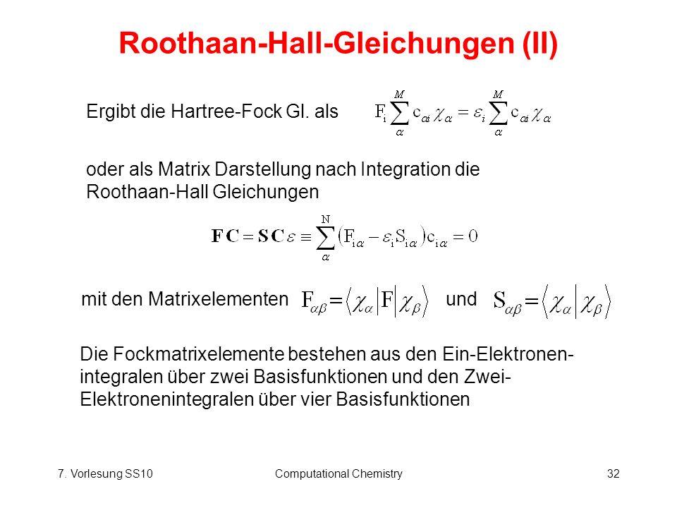 Roothaan-Hall-Gleichungen (II)