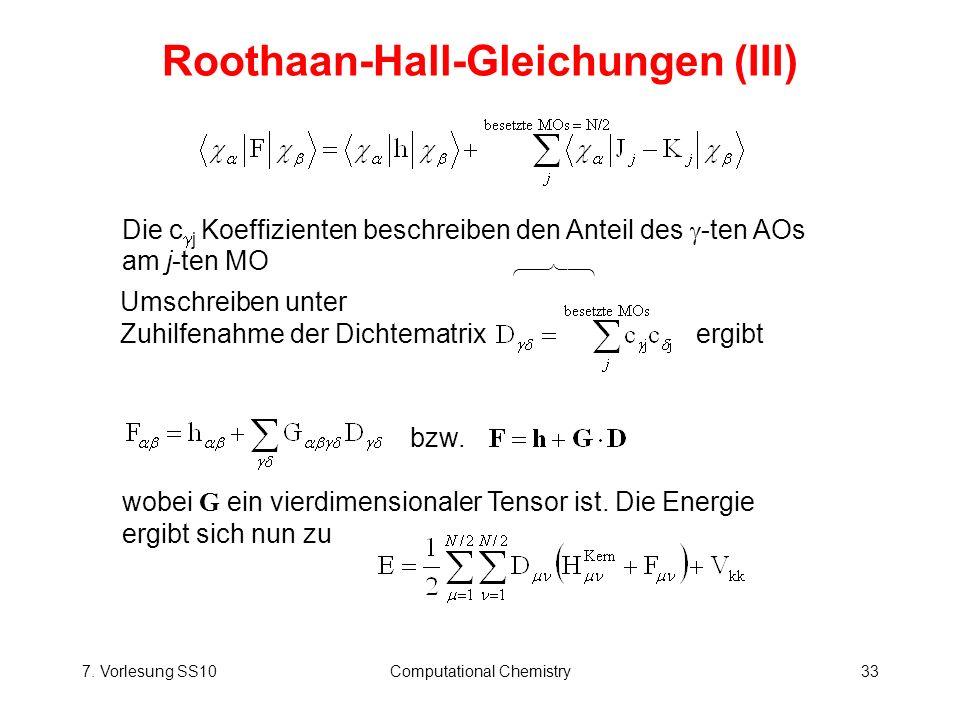 Roothaan-Hall-Gleichungen (III)