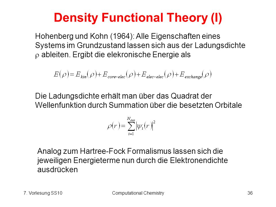 Density Functional Theory (I)