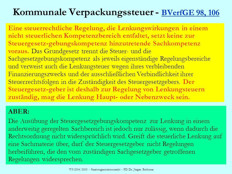 Kommunale Verpackungssteuer - BVerfGE 98, 106