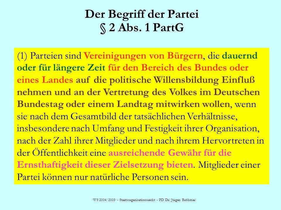 Der Begriff der Partei § 2 Abs. 1 PartG