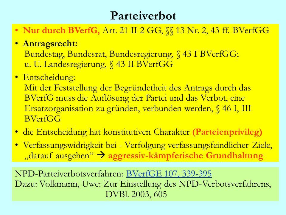 ParteiverbotNur durch BVerfG, Art. 21 II 2 GG, §§ 13 Nr. 2, 43 ff. BVerfGG.