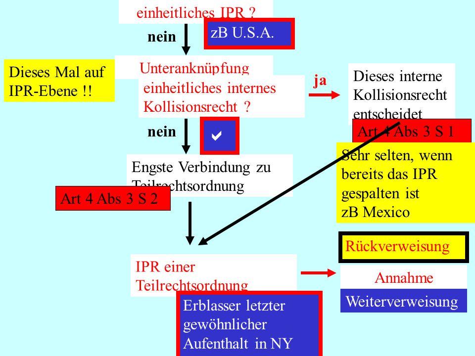 a einheitliches IPR zB U.S.A. nein Unteranknüpfung