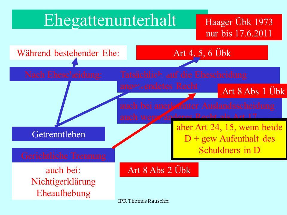 Ehegattenunterhalt Haager Übk 1973 nur bis 17.6.2011