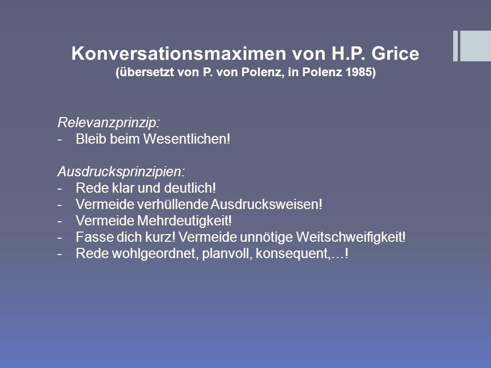 Konversationsmaximen von H.P. Grice
