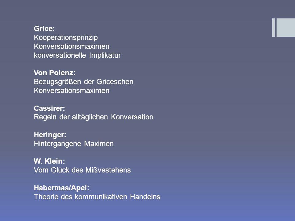 Grice: Kooperationsprinzip. Konversationsmaximen. konversationelle Implikatur. Von Polenz: Bezugsgrößen der Griceschen.
