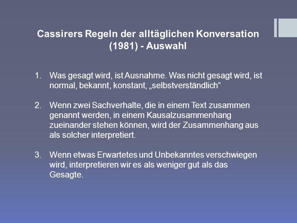 Cassirers Regeln der alltäglichen Konversation (1981) - Auswahl