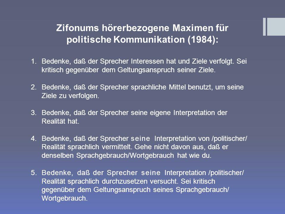 Zifonums hörerbezogene Maximen für politische Kommunikation (1984):
