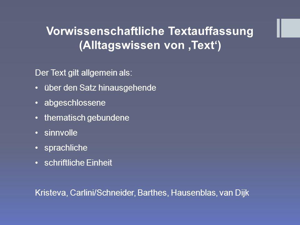 Vorwissenschaftliche Textauffassung (Alltagswissen von 'Text')