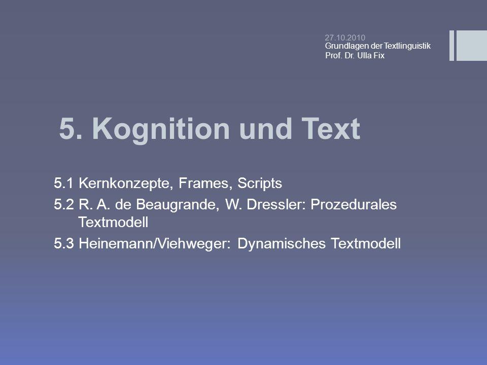 5. Kognition und Text 5.1 Kernkonzepte, Frames, Scripts