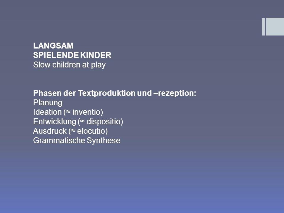 LANGSAM SPIELENDE KINDER. Slow children at play. Phasen der Textproduktion und –rezeption: Planung.