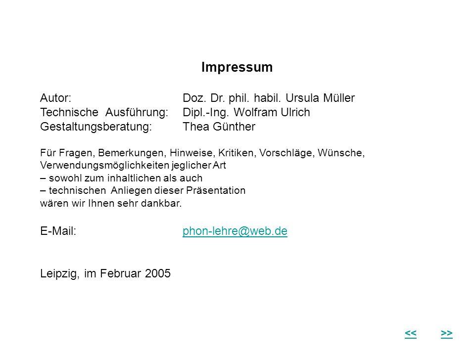 Impressum Autor: Doz. Dr. phil. habil. Ursula Müller