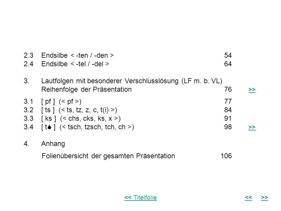 2.3 Endsilbe < -ten / -den > 54