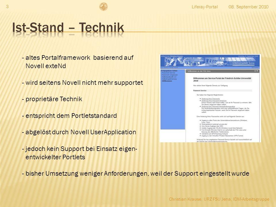 Ist-Stand – Technik altes Portalframework basierend auf Novell exteNd
