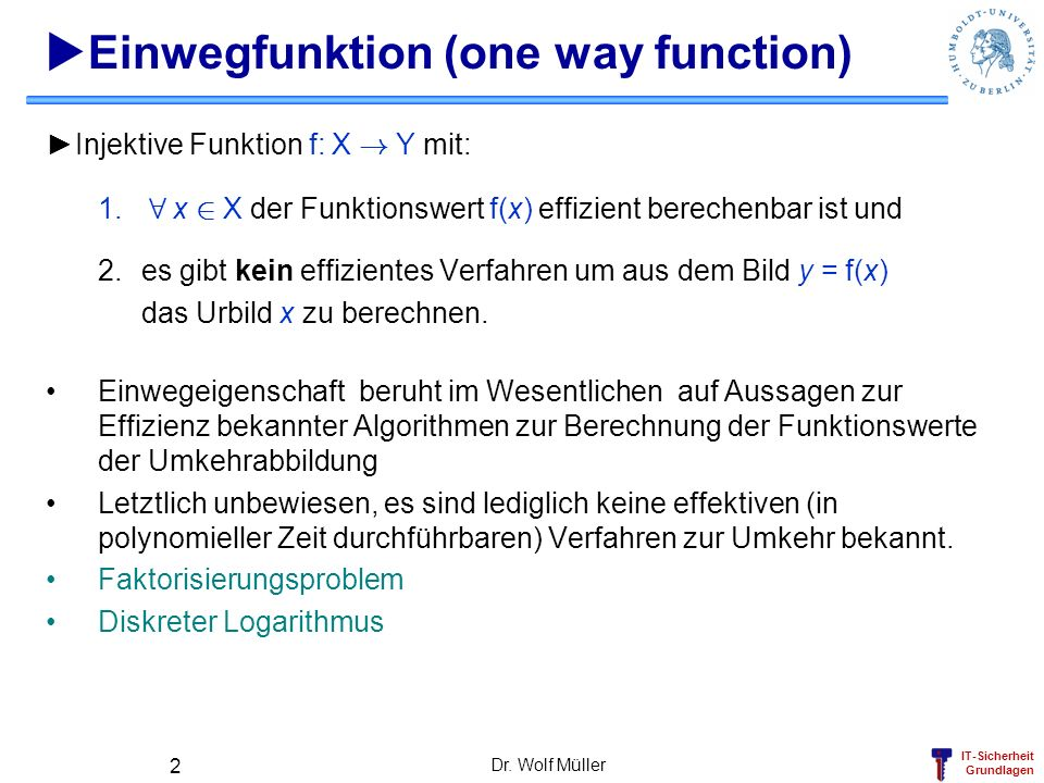 Einwegfunktion (one way function)