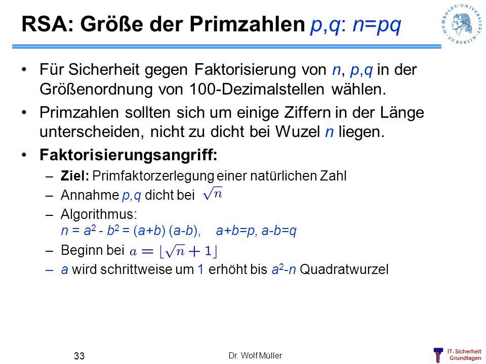 RSA: Größe der Primzahlen p,q: n=pq