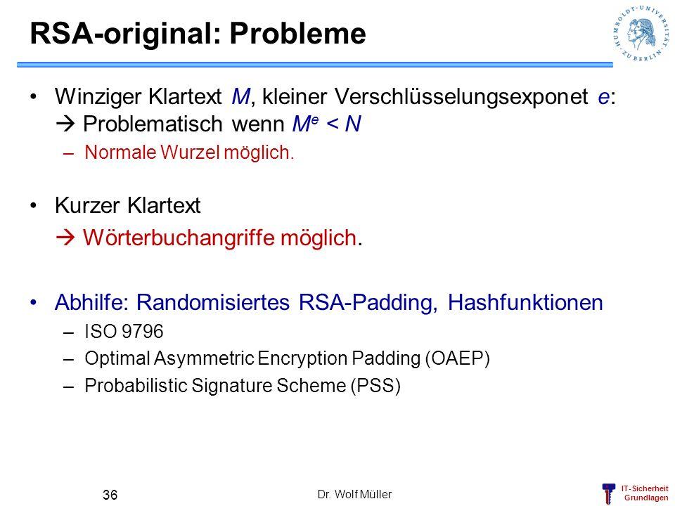 RSA-original: Probleme