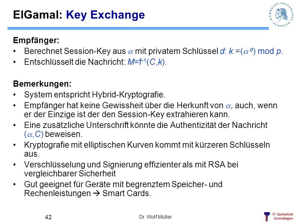 ElGamal: Key Exchange Empfänger: