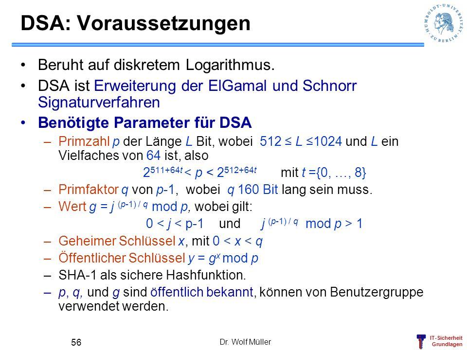 DSA: Voraussetzungen Beruht auf diskretem Logarithmus.