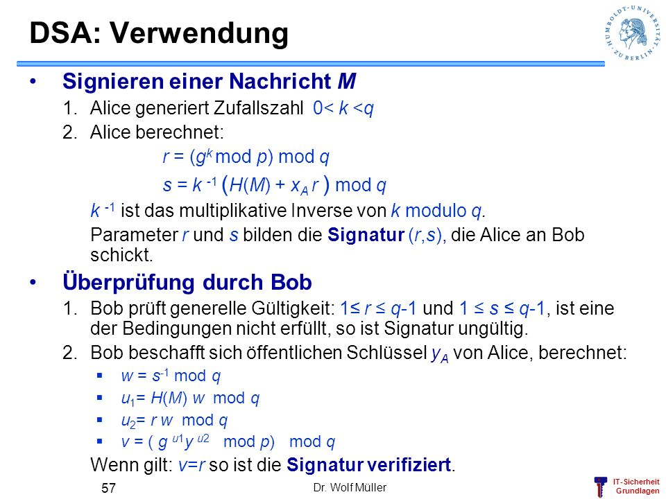 DSA: Verwendung Signieren einer Nachricht M Überprüfung durch Bob