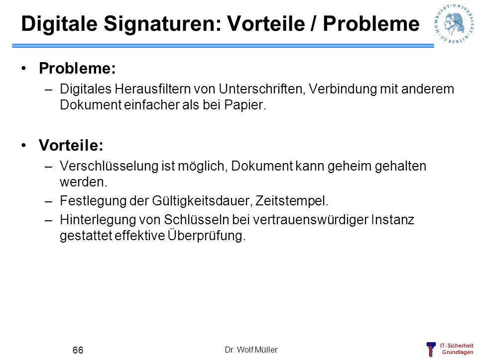 Digitale Signaturen: Vorteile / Probleme