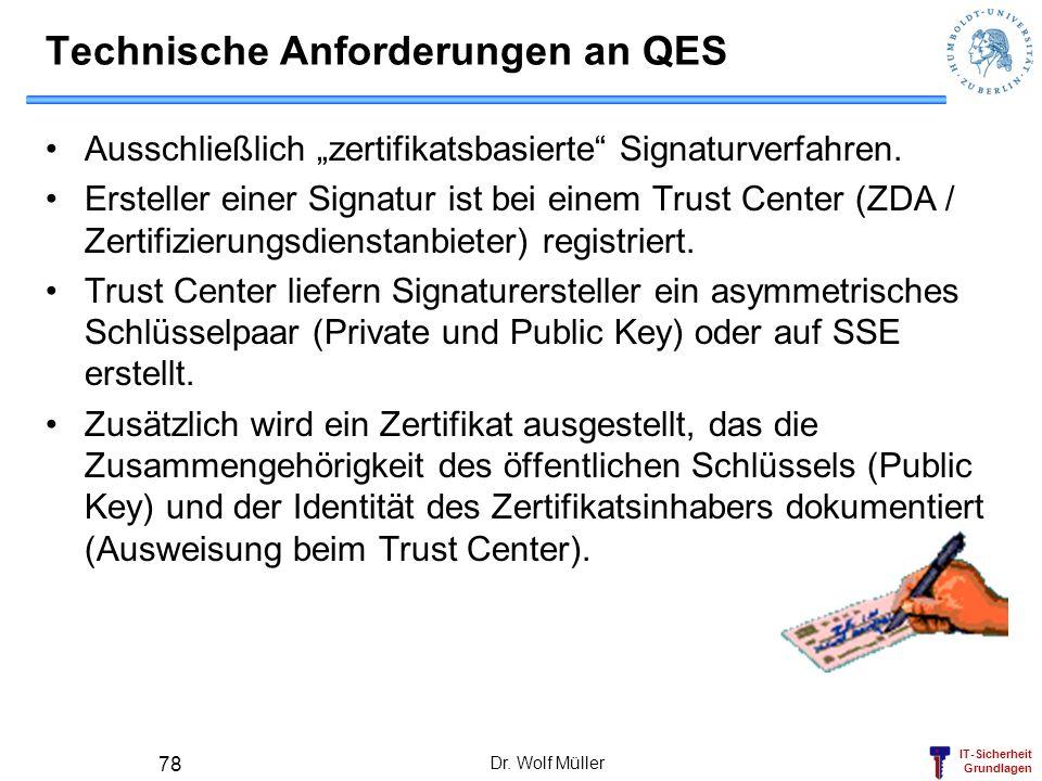 Technische Anforderungen an QES