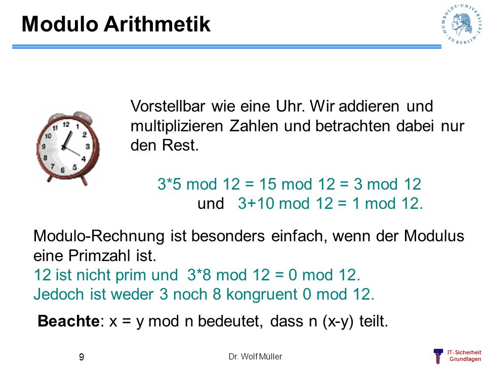 Modulo ArithmetikVorstellbar wie eine Uhr. Wir addieren und multiplizieren Zahlen und betrachten dabei nur den Rest.
