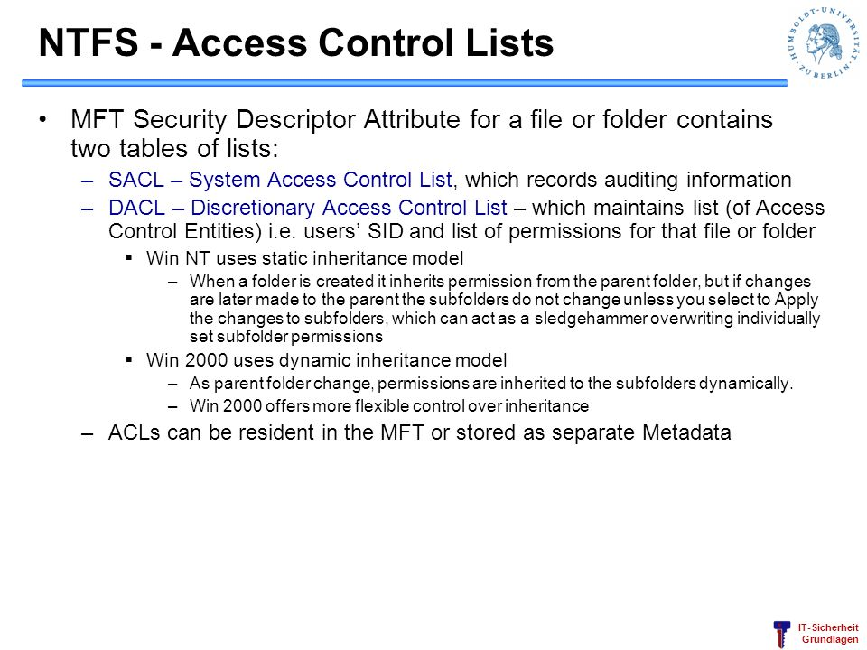 NTFS - Access Control Lists