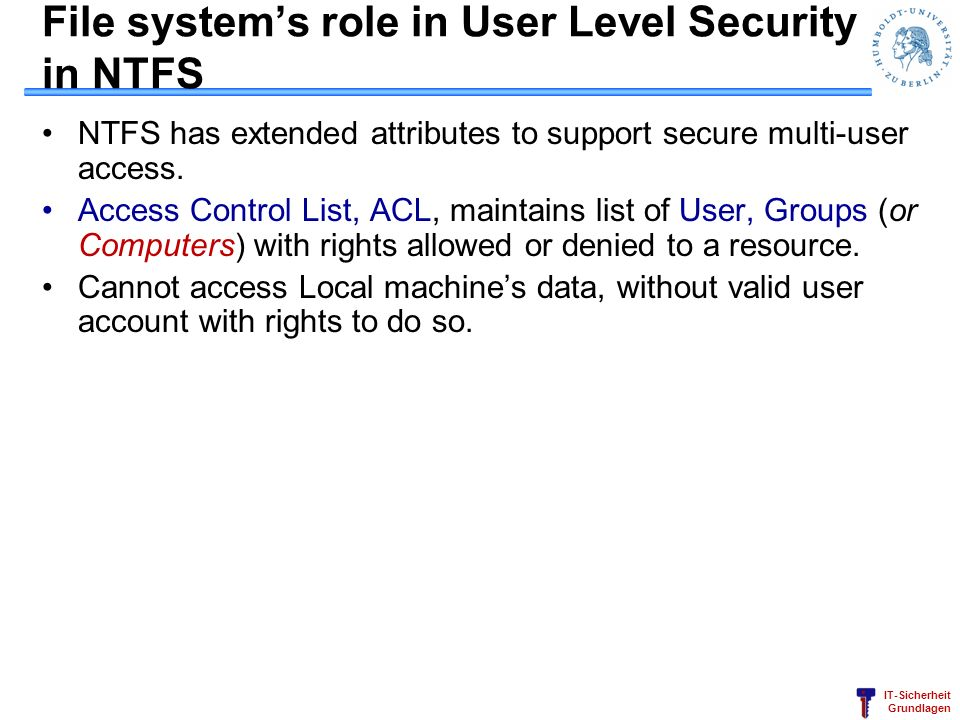 File system's role in User Level Security in NTFS