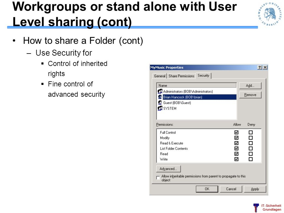 Workgroups or stand alone with User Level sharing (cont)