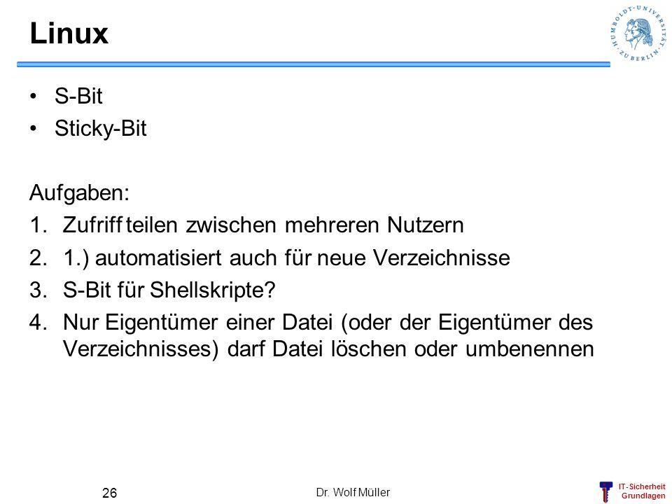 Linux S-Bit Sticky-Bit Aufgaben: