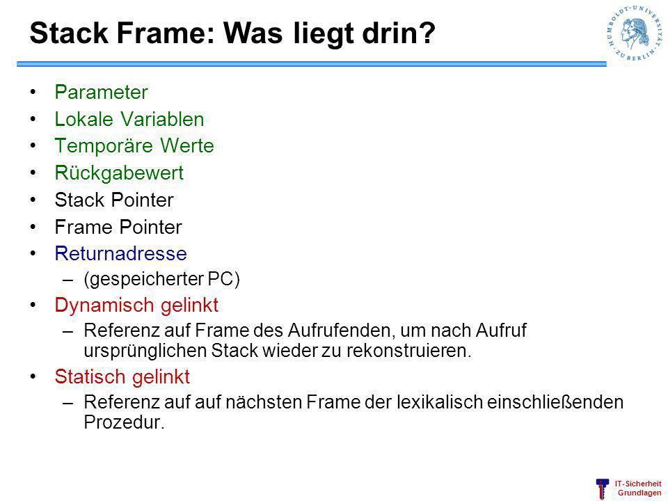 Stack Frame: Was liegt drin