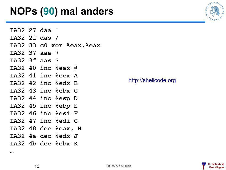NOPs (90) mal anders IA32 27 daa IA32 2f das /