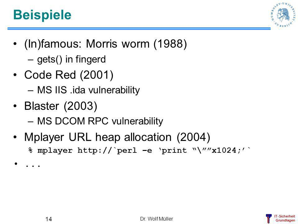 Beispiele (In)famous: Morris worm (1988) Code Red (2001)