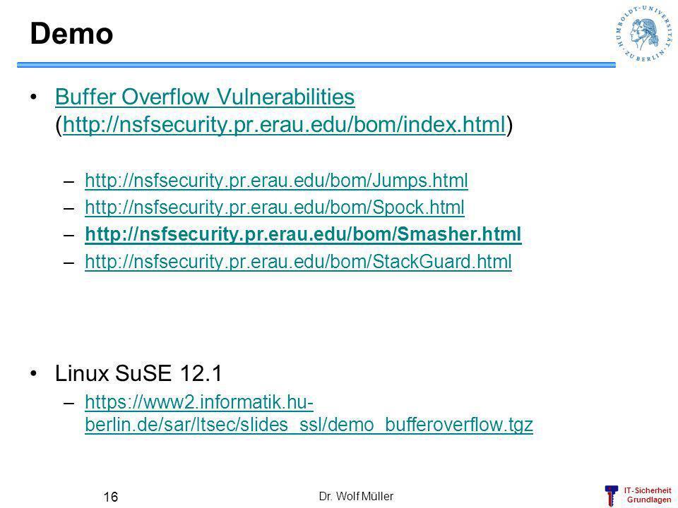 DemoBuffer Overflow Vulnerabilities (http://nsfsecurity.pr.erau.edu/bom/index.html) http://nsfsecurity.pr.erau.edu/bom/Jumps.html.