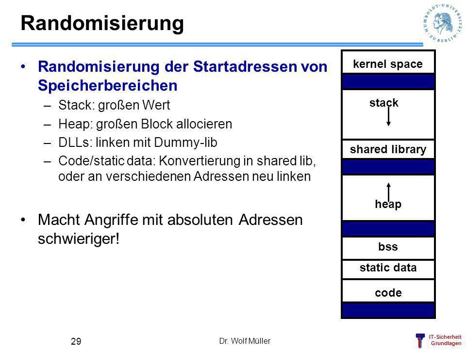 Randomisierung Randomisierung der Startadressen von Speicherbereichen