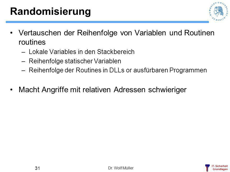 Randomisierung Vertauschen der Reihenfolge von Variablen und Routinen routines. Lokale Variables in den Stackbereich.