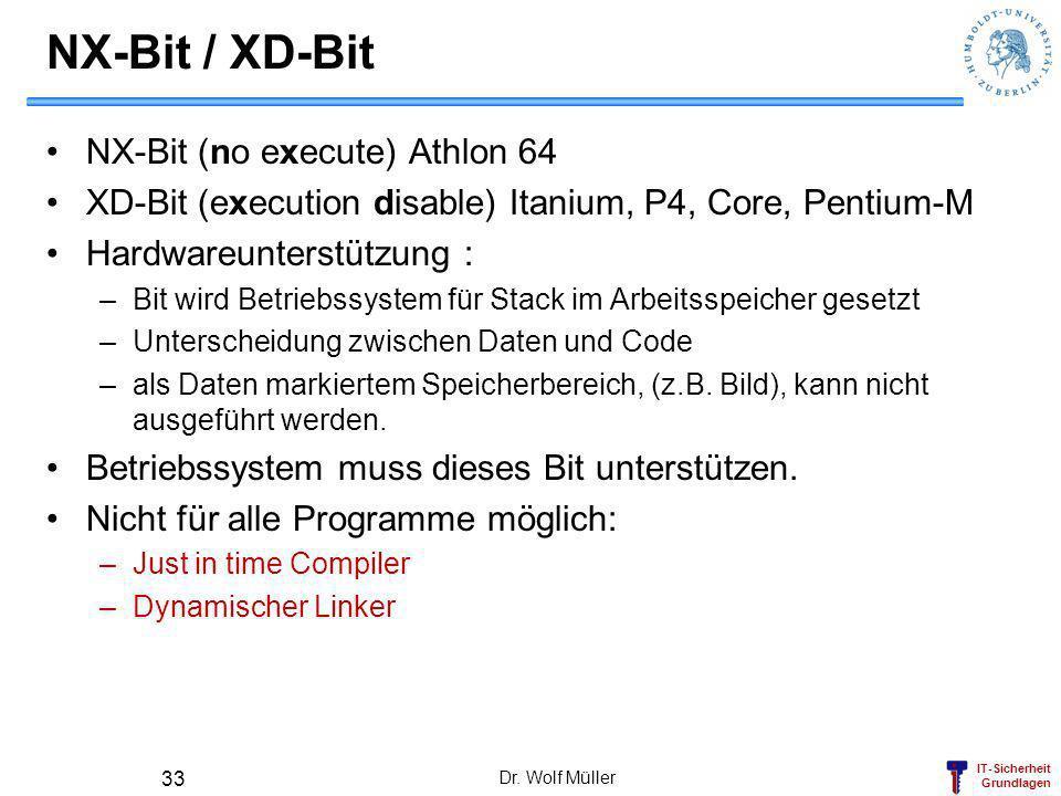 NX-Bit / XD-Bit NX-Bit (no execute) Athlon 64