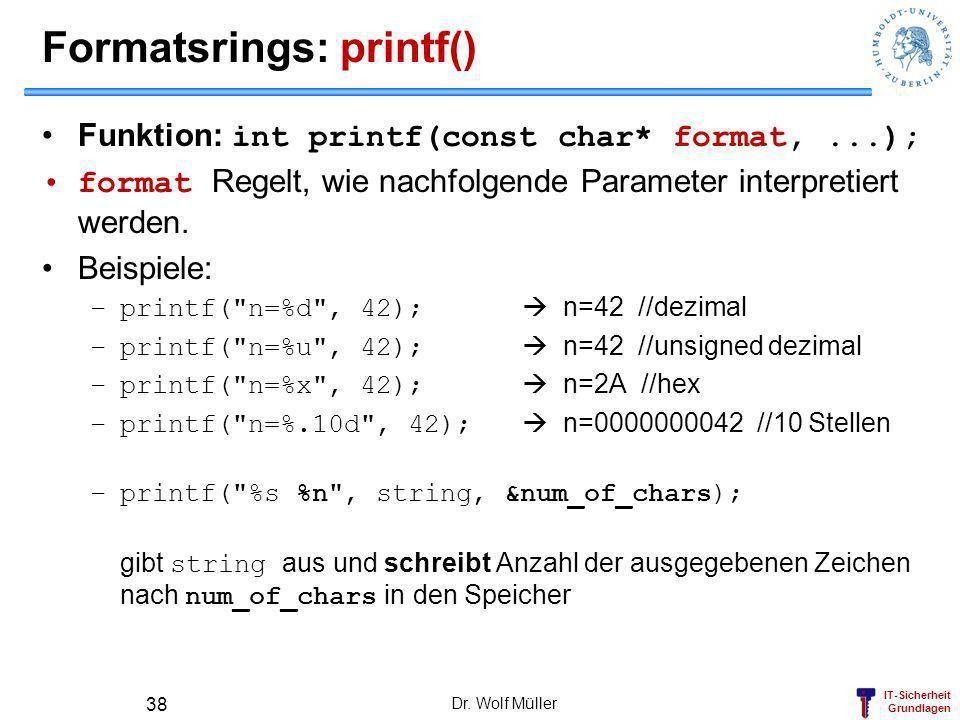Formatsrings: printf()