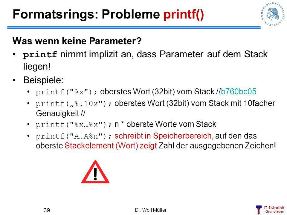Formatsrings: Probleme printf()