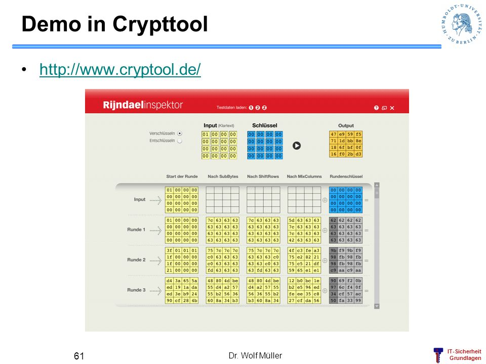Demo in Crypttool http://www.cryptool.de/ Dr. Wolf Müller