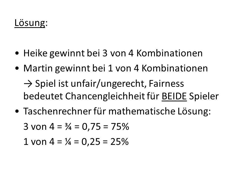 Lösung: • Heike gewinnt bei 3 von 4 Kombinationen • Martin gewinnt bei 1 von 4 Kombinationen → Spiel ist unfair/ungerecht, Fairness bedeutet Chancengleichheit für BEIDE Spieler • Taschenrechner für mathematische Lösung: 3 von 4 = ¾ = 0,75 = 75% 1 von 4 = ¼ = 0,25 = 25%