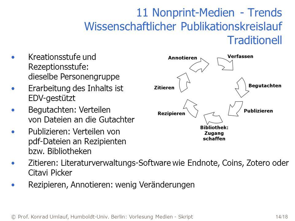 11 Nonprint-Medien - Trends Wissenschaftlicher Publikationskreislauf Traditionell