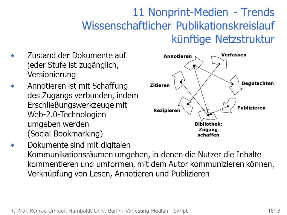 11 Nonprint-Medien - Trends Wissenschaftlicher Publikationskreislauf künftige Netzstruktur