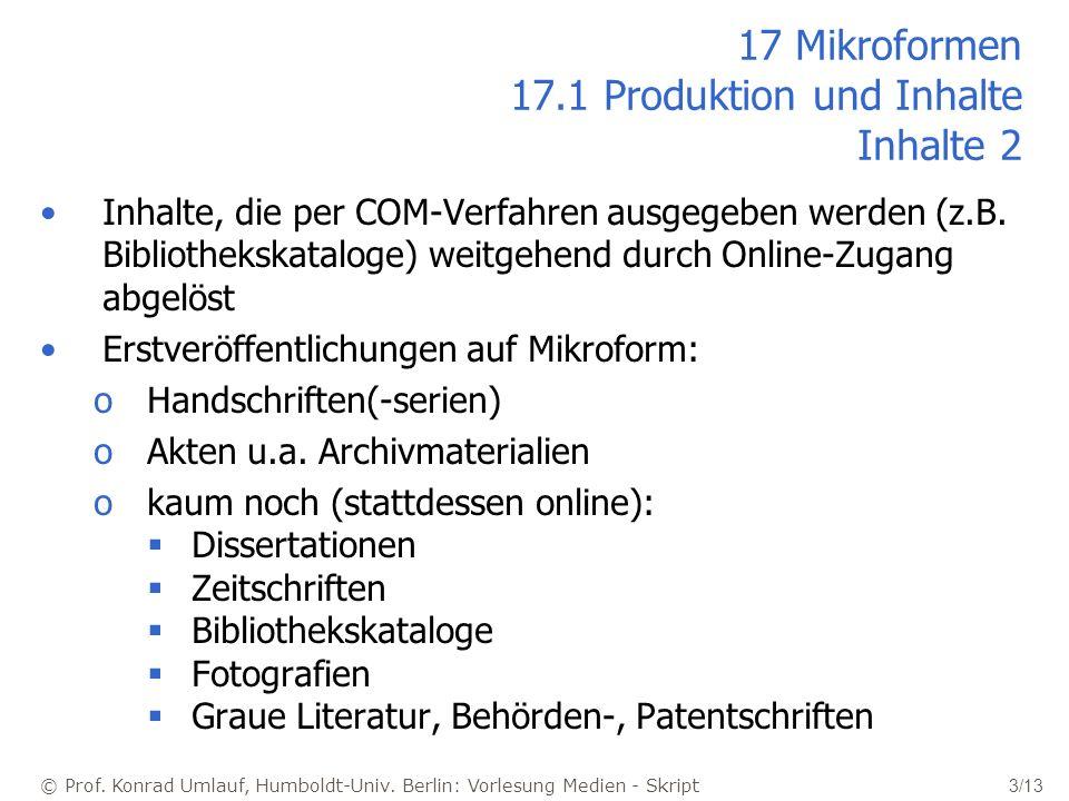 17 Mikroformen 17.1 Produktion und Inhalte Inhalte 2